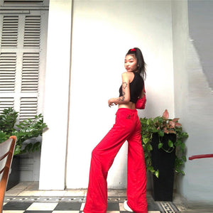 velvet solid color back embroidered wide-leg pants - Lupsona