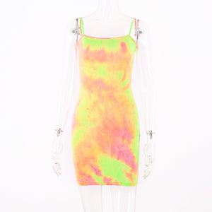 summer colorful tie-dye slim bodycon mini casual dress - Lupsona