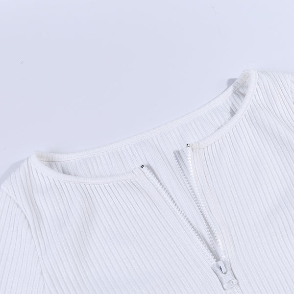 front two-way zipper knitted slim top - Lupsona