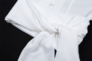 turn-down collar chiffon puff sleeved bandaged shirt