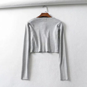 massiv Solor One-Line Knäpper gebreide Top Cardigan