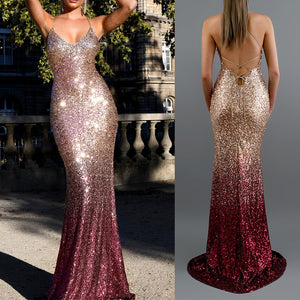 gradient color sequins deep v neck back criss-cross maxi dress - Lupsona