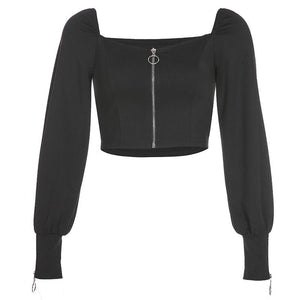 u neck puff sleeved long sleeved blouse - Lupsona