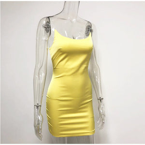 candy color silky slim bodycon dress - Lupsona