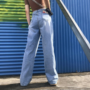 jeans taille haute à jambes larges - Lupsona