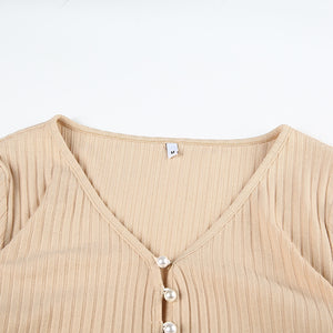 cardigan en maille à boutons perles sexy - Lupsona