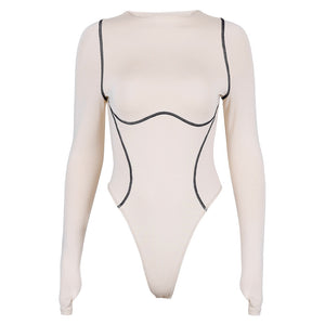 sorte streker patch O-hals slim body med top - Lupsona