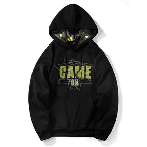 'game on' printed fleece lining hooded sweatshirt - Lupsona