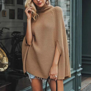 slouchy high collar solid color knitted cloak sweater