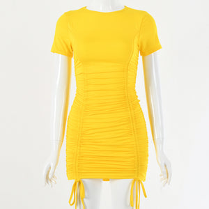 o neck drawstring pleated slim bodycon dress - Lupsona
