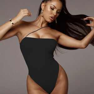 one strap slash neck solid color slim bodysuit - Lupsona