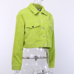 solid color corduroy one-line buttons leisure cardigan