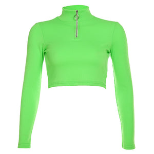 Candy Faarf Front Zipper Mock Hals Slim Crop Top
