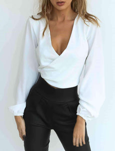Two-Way Wear Backless Knot Tieft V-Neck Chiffon Blouse