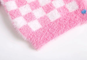 mohair checkerboard pattern sweet sweater cardigan - Lupsona