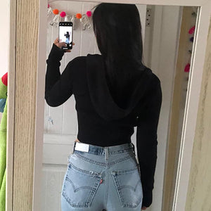 double zipper hooded slim knitted crop top sweater - Lupsona