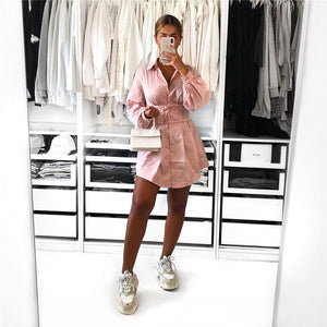 retro solid color corset shirt dress - Lupsona