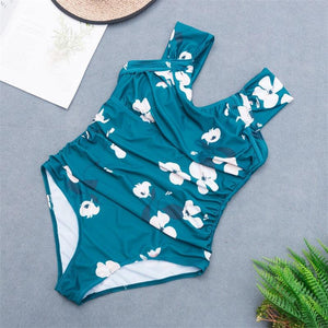 wide straps flower printed pleated slim swimsuit