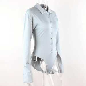 turn-down collar long sleeved one-line buttons bodysuit