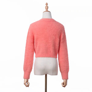 set cardigan maglione dolce canotta rosa mohair dolce donna - Lupsona