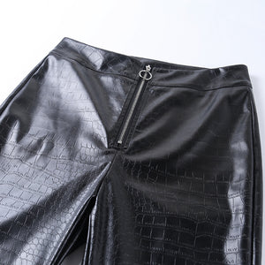 Alligator Print héich waisted Front Zipper Slim Hosen Leggings - Lupsona
