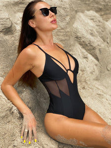 strappy deep v neck mesh patch hollow out one-piece swimsuit - Lupsona