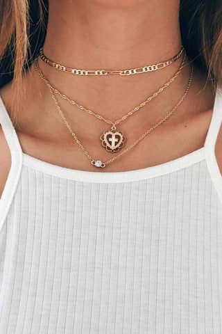 Multi-layer Cross Pendant Studded Alloy Necklace Sets
