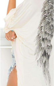 Wings Printed Ivory Loose Batwing Sleeved Cardigan - Lupsona