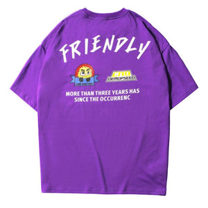 t-shirt ample à col rond imprimé 'friendly' - Lupsona