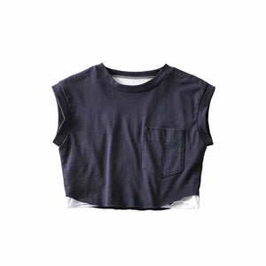 Faarf Patch ee Stéck locker sleeveless crop Top - Lupsona