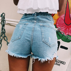 3 colors high waisted ripped leisure denim shorts - Lupsona