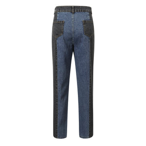 Retro Kontrastfarbe High Wasited Chic Jeans Hose - Lupsona