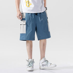 elastic waist multi - pocket men's shorts - Lupsona