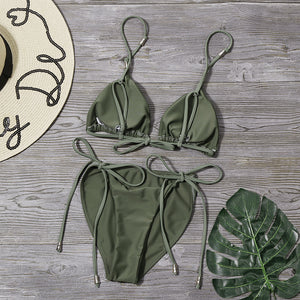 army-green backless side tie-up straps bikini set - Lupsona