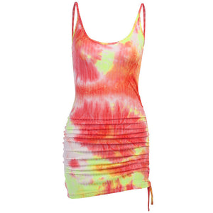 strappy backless tie-dye one side drawstring knitted slim dress - Lupsona