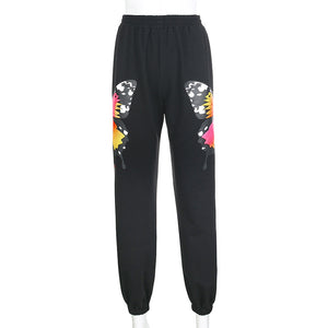 colorful butterfly printed high waisted jogger sweat pants - Lupsona