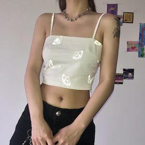 light-reflective butterfly printed strappy crop top