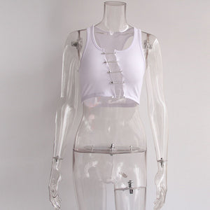 safety pins hollow out irregularity sexy cub crop top - Lupsona