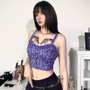 purple floral printed falbala hem front buttons slim crop top - Lupsona