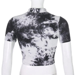 butterfly buckles tie-dye Chinoiserie crop top - Lupsona