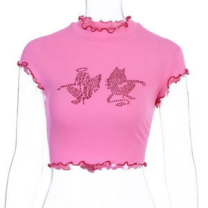 falbala hem angel&devil rhinestones hot drilling slim t-shirt - Lupsona