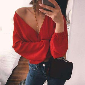 Zwee-Weeër Droen Backless Knot Deep V-Neck Chiffon Blouse - Lupsona