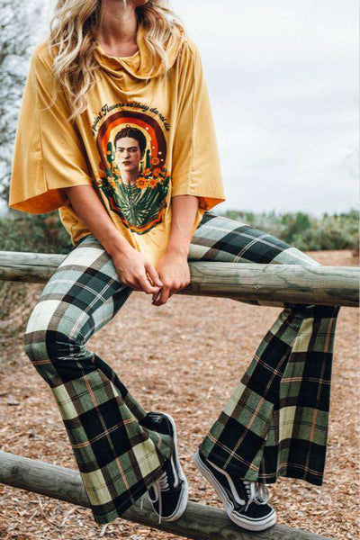 high waisted  tartan print bell-bottoms pants - Lupsona
