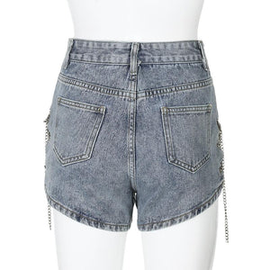 irregular side slit metal chain criss-cross high waisted denim shorts - Lupsona
