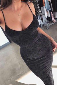sexy glitter strappy slim dress
