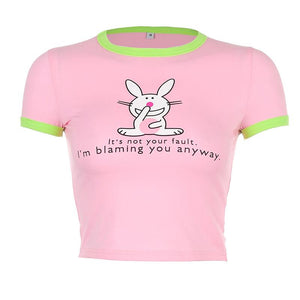 cute rabbit letters printed sweet slim cropped t-shirt