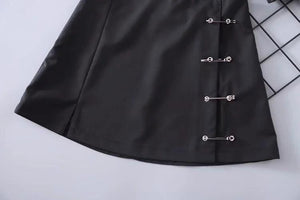 side safety pins decoration a-line black skirt - Lupsona