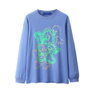 cartoon bear printed o neck sweatshirt - Lupsona