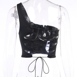 one-shoulder-off back criss-cross hollow out slim crop top - Lupsona