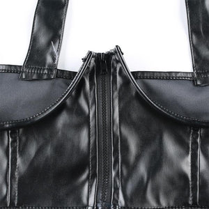 Hip Hop Bag Schlacken Front Zipper Korsett Gürtel Top - Lupsona